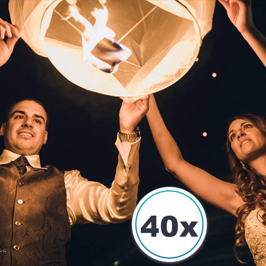 40 x Witte Wensballonnen vliegende papieren lantaarns ufo ballon zweeflantaarn: VOLANTERNA®