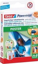 10x Tesa kleefstrip Powerstrips, draagkracht 200gr, voor posters, blister a 20 stuks