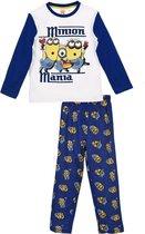 "Minions - 2-delige Pyjama-set - Model ""Minions Mania"" - Blauw / Wit - 116 cm - 6 jaar"