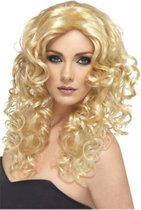 Glamour pruik met blonde krullen