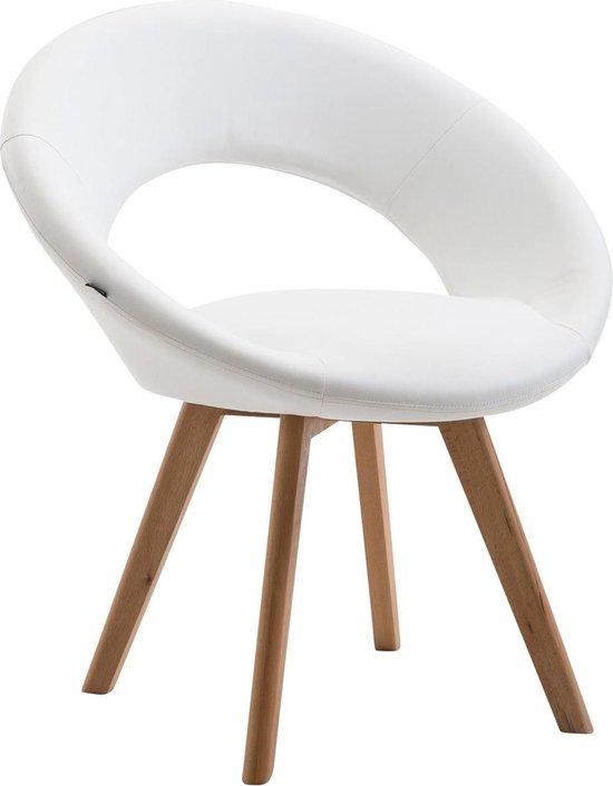 Witte kuipstoel met leuning. Met modern zitje en houten