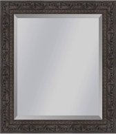 Brocante spiegel met ornament Sevilla Bruin eiken small 49mm     Buitenmaat 40x50cm