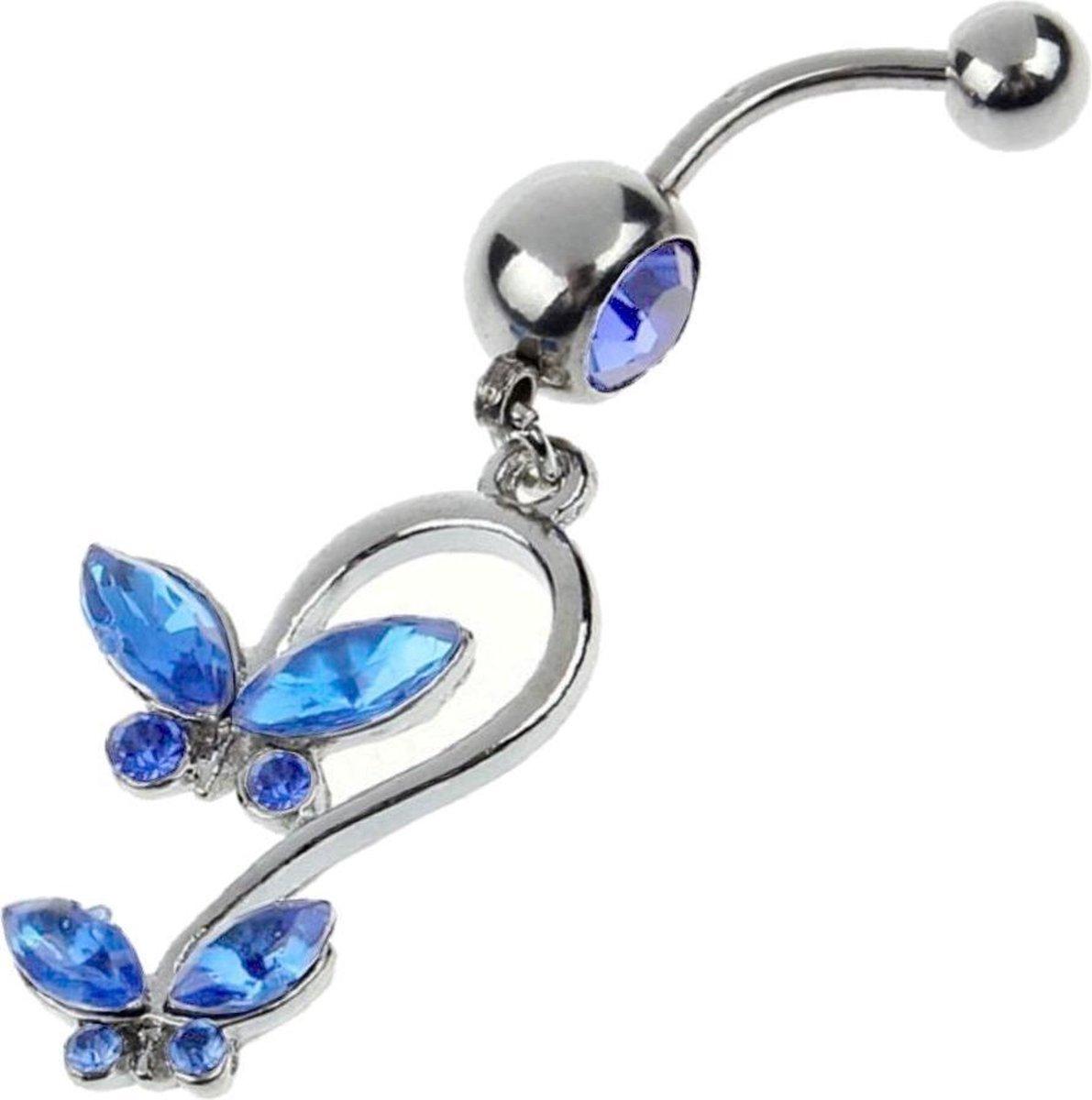 Fako Bijoux® - Navelpiercing - Vlinders - Blauw - Fako Bijoux®