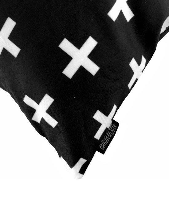 Zwart - Wit Kruisjes Kussenhoes | Katoen/Flanel | 45 x 45 cm - Gek op Kussens!