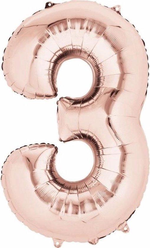 Folie ballon cijfer 3 rose goud - 3 jaar folieballon