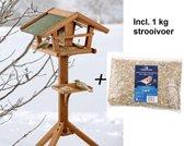 Vogelvoederhuisje - 46 x 30 x 121 cm + 1 kg strooivoer