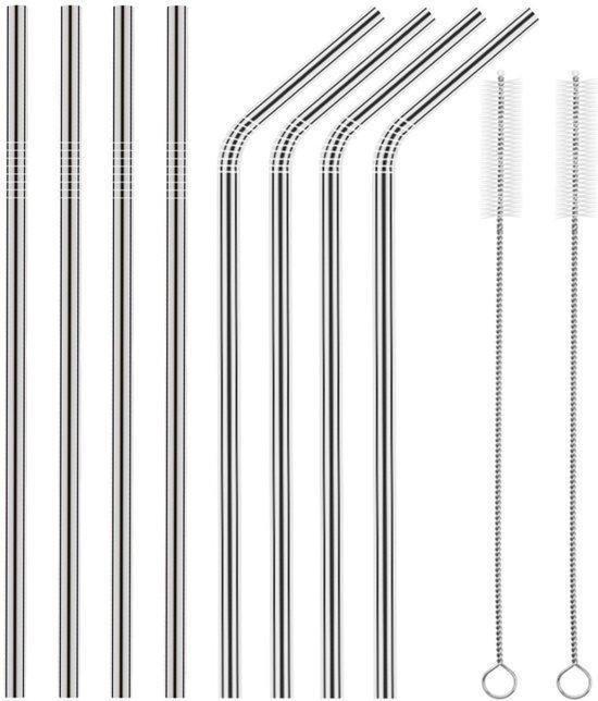 RVS rietjes - Set van 8 herbruikbare rietjes - 4 recht 4 gebogen - 21 cm - Duurzaam en stijlvol - Incl 2 schoonmaakborstels en bewaarzakje
