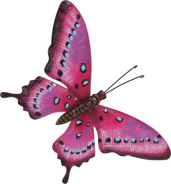 Bol Com Tuin Schutting Decoratie Roze Lichtblauwe Vlinder 35 Cm Tuin Schutting Schuur