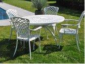 1 groene set tuintafel diam 120 met 4 stoelen met leuning aluminium - collectie Ashbury
