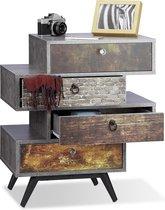 relaxdays vintage dressoir met 4 lades - betonnen look - ladekast met motief - commode