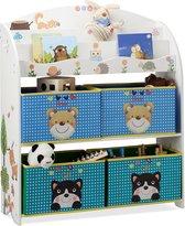 relaxdays speelgoedrek - opbergrek kinderen -  opbergmeubel speelgoed - kleurrijk dieren