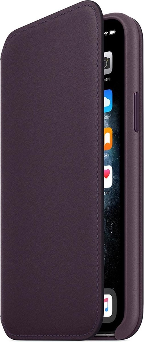 Apple Leren Folio Hoesje voor iPhone 11 Pro - Aubergine
