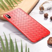 Let op type!! ROCK Slim Weave Style TPU Soft Case for iPhone XS(Red)