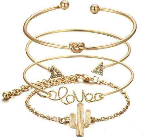 Joboly Set armbanden knot cactus love en pijl 4 delig - Dames - Goudkleurig - 17 cm