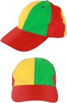 Baseball pet rood/geel/groen verstelbaar