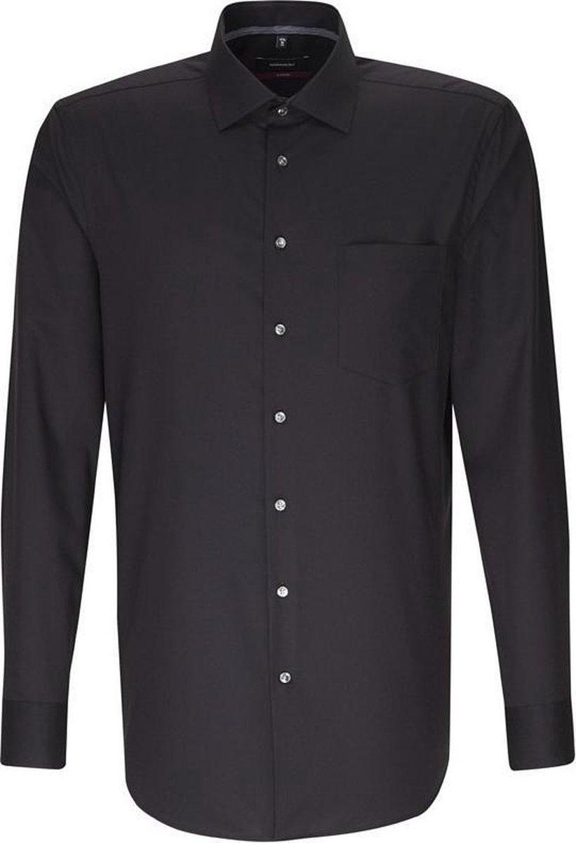 Seidensticker overhemd modern fit zwart, maat 42