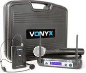 WM512C 2-Kanaals VHF Draadloos Microfoonsysteem Handheld Headset combi