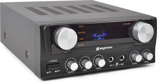 Skytronic Karaoke Amplifier met Display Zwart