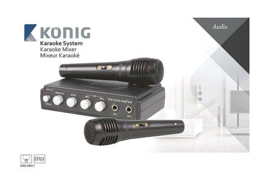 Konig karaoke mixer met 2 microfoons - zwart