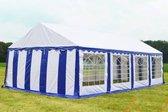 Party tent 8x5 Classic PVC Brandvertragend | Blauw / wit