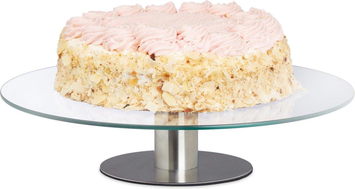 relaxdays taartplateau draaibaar op voet - taartschaal - taartstandaard glas - Ø 30 cm - Relaxdays