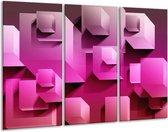 Canvas schilderij Vierkant | Paars, Wit, Roze | 120x80cm 3Luik