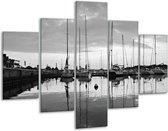 Glasschilderij Boot   Grijs, Zwart, Wit   100x70cm 5Luik   Foto print op Glas    F001734