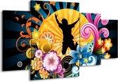 Canvas schilderij Abstract | Geel, Paars, Rood | 160x90cm 4Luik