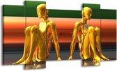 Canvas schilderij Abstract   Goud, Groen, Rood   120x65 5Luik