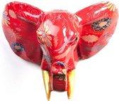 Pomme Pidou Aniwalls dierenkop olifant Jim - Rood met bloemen