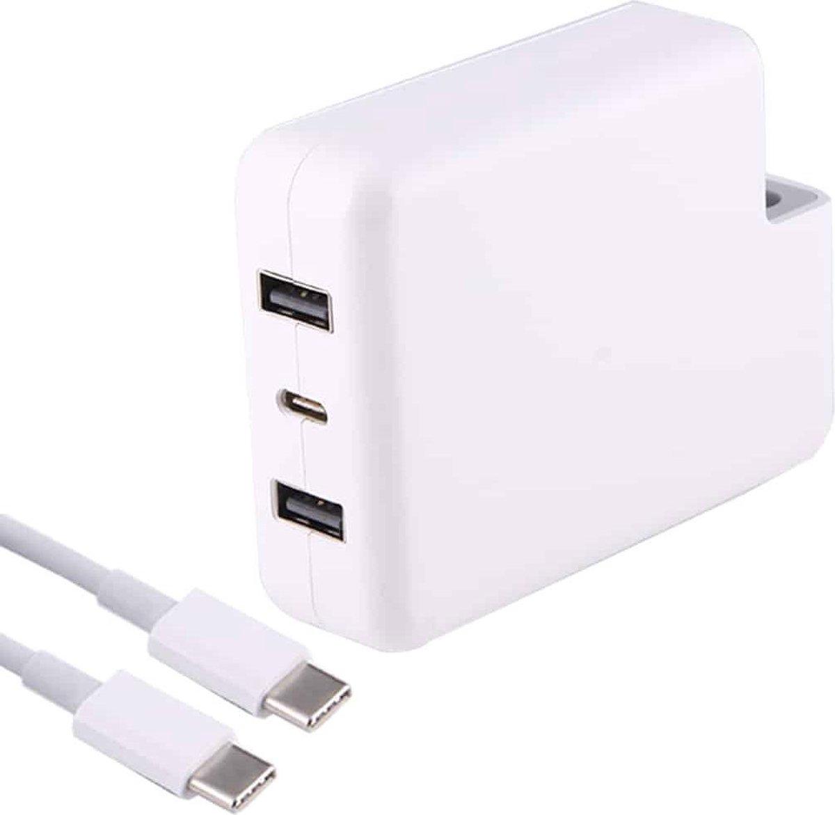 87W / 61W USB-C / Type-C lichtnetadapter Snel opladen met 2m USB-C / Type-C-kabel en automatische identificatie, zonder stekker, voor MacBook, iPhone, Galaxy, Huawei, Xiaomi, LG, HTC en andere slimme telefoons, Oplaadbare apparaten (wit)