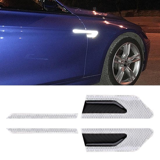 2 STKS Koolstofvezel Auto-Styling Fender Reflecterende Bumper Decoratieve Strip, Externe Reflectie + Innerlijke Carbon (Wit)