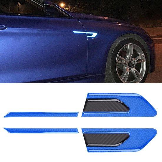 2 STKS Koolstofvezel Auto-Styling Fender Reflecterende Bumper Decoratieve Strip, Externe Reflectie + Inner Carbon Fiber (Blauw)