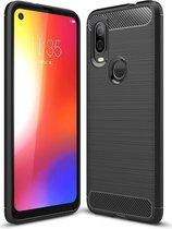 Motorola One Vision Geborsteld TPU Hoesje Zwart