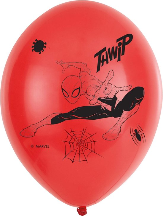 6 Spider-Man Latex Balloons 4 Sided 11 /27.5cm