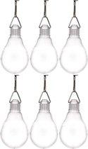 6x Buiten verlichting solar lampenbolletjes wit 11,8 cm - Tuinverlichting/feestverlichting lampjes op zonne-energie