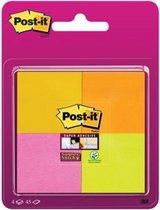 Afbeelding van Post-it® Super Sticky Notes, Sprankelende kleuren, 47,6 x 47,6 mm -neon geel, neon roze, neon oranje, neon groen, 4 blokken