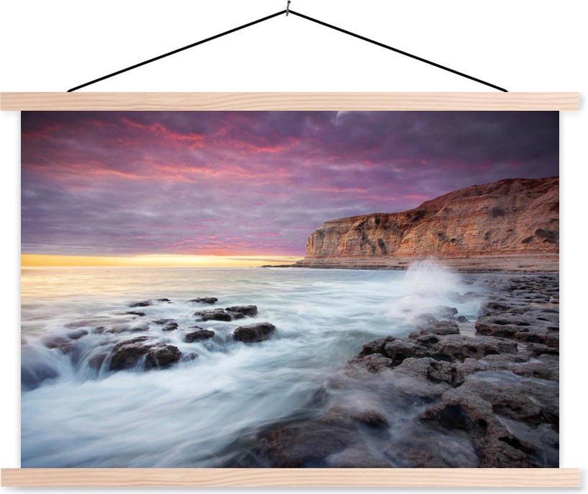 Aldinga Beach bij het Australische Adelaide met een kleurrijke hemel schoolplaat platte latten blank 150x100 cm - Foto print op textielposter (wanddecoratie woonkamer/slaapkamer)