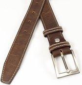 Bruine  heren pantalonriem 3 cm breed - Bruin - Casual - Leer - Taille: 90cm - Totale lengte riem: 105cm - Mannen riem