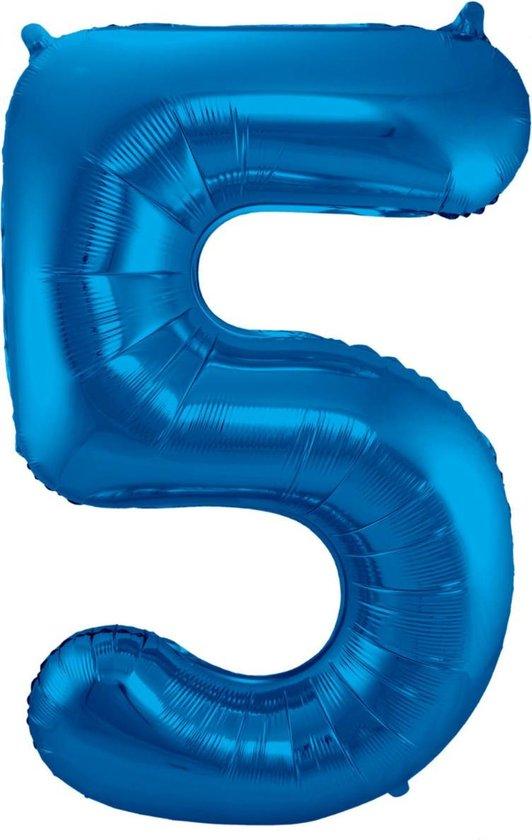 Ballon Cijfer 5 Jaar Blauw Verjaardag Versiering Blauwe Helium Ballonnen Feest Versiering 86 Cm XL Formaat Met Rietje