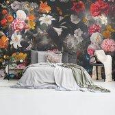 Bloemenwereld Zwart  Kleurrijk - Bloemen - Planten - Fotobehang 384 x 260 cm Vlies