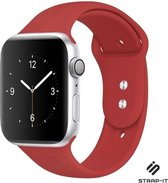 Strap-it® Apple Watch SE silicone band - rood - Maat: 42 - 44mm - M/L