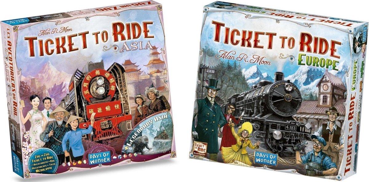 Ticket to Ride Spellenbundel - Bordspel - 2 stuks - Europa (Basisspel) & Uitbreiding Azië