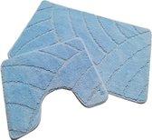 Badmat set klassiek blauw - 50 x 80 cm + 40 x 50 cm