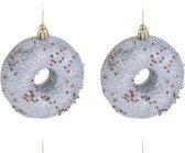 4x Kerstboomhangers kunststof donuts zilver 8,5 cm kerstversiering - Kerstboomversiering kerstornamenten/ornamenten