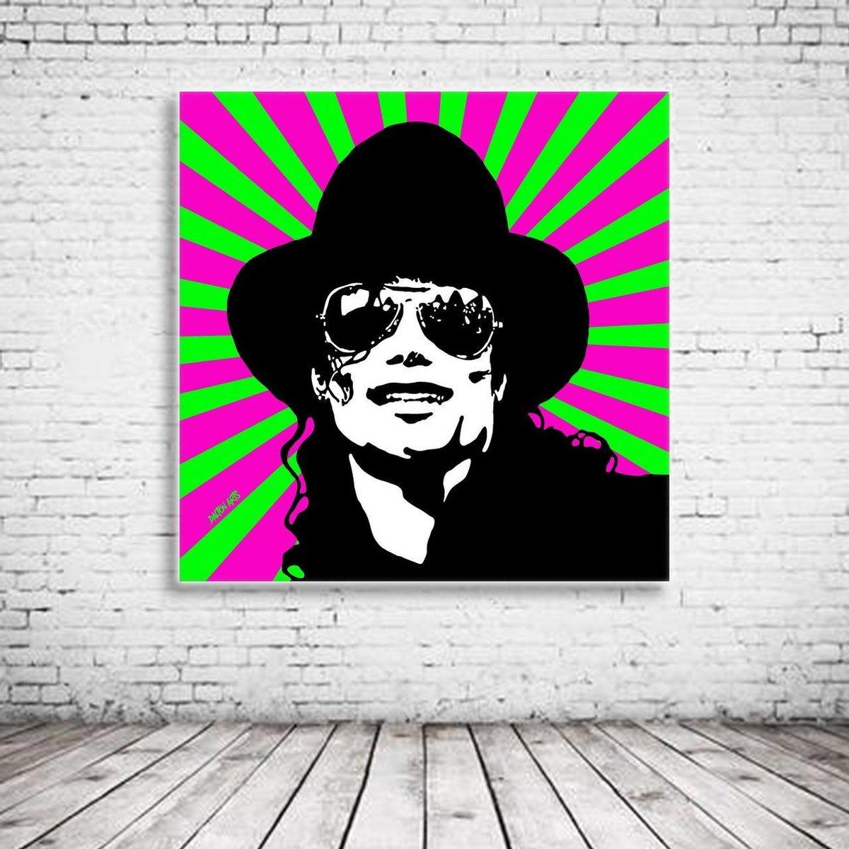 Pop Art Michael Jackson Canvas - 90 x 90 cm - Canvasprint - Op dennenhouten kader - Geprint Schilderij - Popart Wanddecoratie