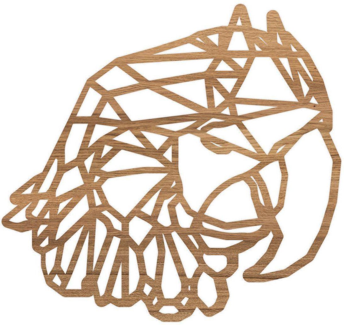 Geometrische Dieren Papegaai - Eiken hout - S (25x24 cm) - Cadeau - Kinderen - Geschenk - Woon decoratie - Woonkamer - Slaapkamer - Geometrische wanddecoratie