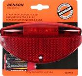 Fiets achterlicht / staartreflector - 3x LED - universeel - batterijachterlicht met reflector - fietsverlichting / achterlichten