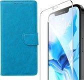 iPhone 12 Mini - Bookcase Turquoise - portemonee hoesje + 2X Tempered Glas Screenprotector