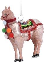 1x Kerstboomhangers roze glazen alpaca/lama 11 cm kerstversiering - Gouden kerstversiering/boomversiering